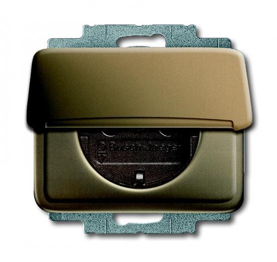 busch jaeger 20 euk 21 schuko steckdosen einsatz mit klappdeckel bronze. Black Bedroom Furniture Sets. Home Design Ideas